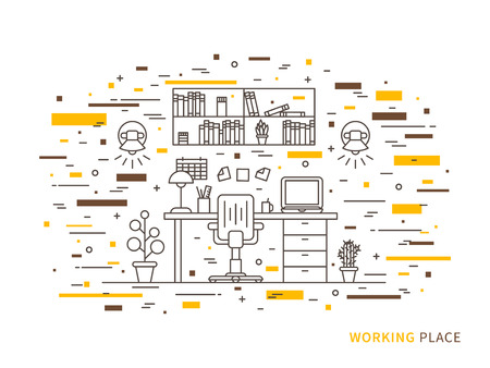 working place: Linear flat interior design illustration of modern designer working place interior space with flowers, shelves, table, laptop, lamps, chair, notes, calendar. Outline vector graphic concept of working place interior design. Illustration