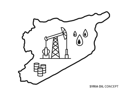 petrolium: Syria oil linear vector illustration with oil derrick, petrolium, fuel, gasoline, barrel, petrol tower. Syria map creative graphic concept.