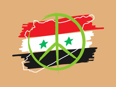 armistice: Syria peace linear vector illustration with syria outline map, flag, peace label, stars. Peaceful Syria peace, freedom, patriotic, pacifism hand drawn creative graphic concept.