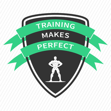 affirmation: Training makes perfect. Inspirational motivational quote on white background. Positive sport affirmation for print, poster, banner, decorative card. Vector typography concept design illustration. Illustration