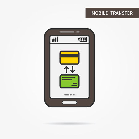 technology transaction: Linear mobile transfer process. Flat transfer with credit cards and arrows. Creative concept phone banking cards transaction. Money transfer app icon. Vector financial technology sign illustration.