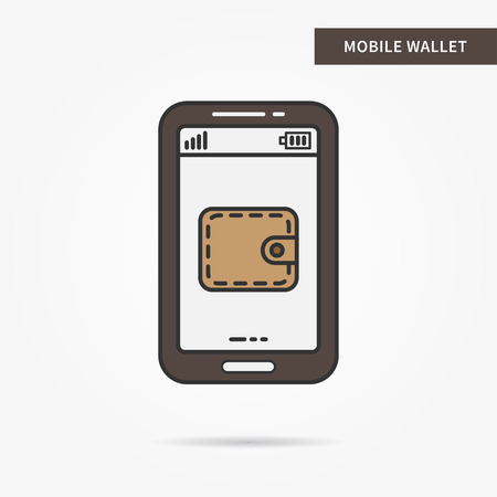 billfold: Linear mobile wallet app. Flat web purse. Mobile wallet billfold symbol. Creative concept phone finance wallet graphic design banner. Vector payment technology sign illustration.