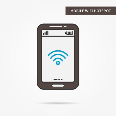 hotspot: Linear mobile WiFi Hotspot app. Flat WiFi hotspot icon. Mobile WiFi sharing symbol. WiFi hotspot graphic design banner. Digital WiFI hotspot app icon. Vector payment technology sign illustration.