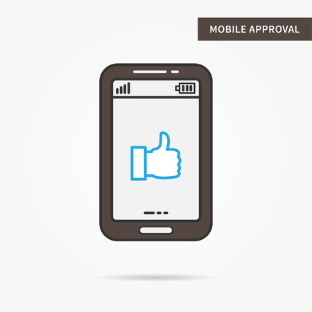 approval icon: Linear mobile approval. Flat thumb up. Mobile acceptance symbol. Creative concept ok thumb up graphic design banner. Digital approval icon. Vector approval thumb up sign illustration. Illustration
