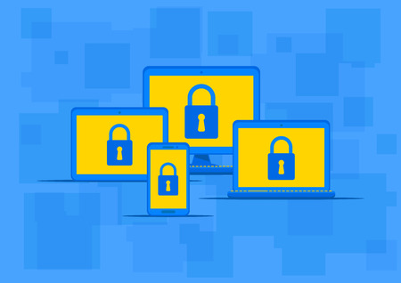protection devices: Electronic devices antivirus protection vector illustration. Electronic gadgets with lock sign on the blue background. Data security technology graphic design.