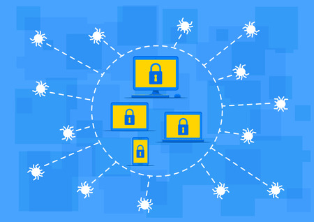 computer viruses: Firewall protection vector illustration. Creative concept with lock sign and shields that protect computer. Protection software to secure data from viruses, spyware, hackers graphic design.