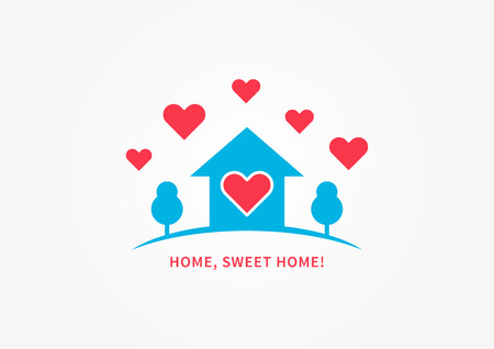 cozy: Home silhoutte with heart shapes vector illustration. Home, sweet home quote creative concept.