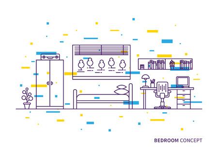 cozy: Bedroom interior vector illustration. Bedroom interior line art with colorful decorative elements creative concept.