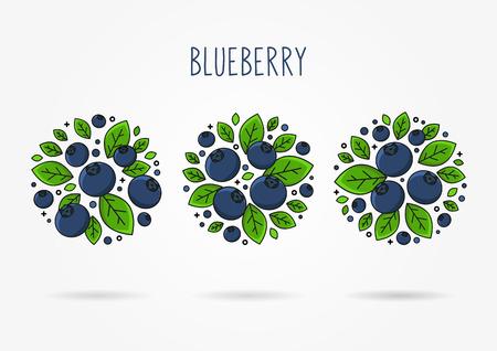 Illustration vectorielle ligne art myrtille Concept créatif des étiquettes rondes aux bleuets. Conception graphique pour affiche, bannière, placard. Disposition du modèle avec du texte et des baies. Vecteurs