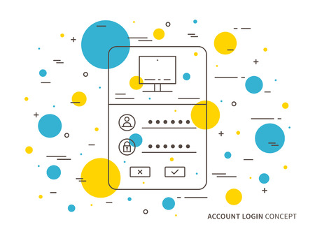 Login access webpage vector illustration. Sign up log in, sign in interface technology creative concept. Registration, submit form frame, box graphic design.