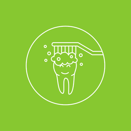 Dental tooth cleaning washing linear vector illustration. Dental tooth care technology creative concept. Healthy tooth hygiene, toothbrush, toothpaste. Clean tooth protection graphic design.