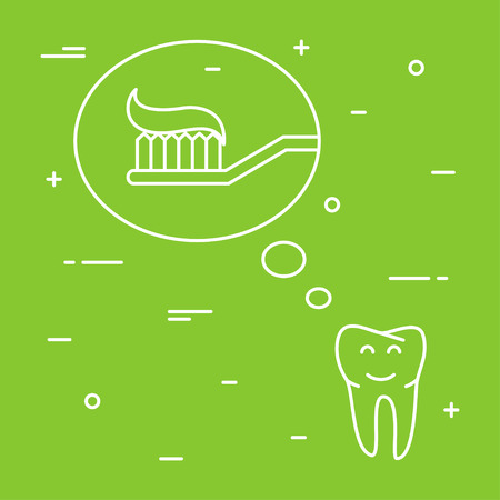 rinse: Tooth thinks about toothbrush with toothpaste linear vector illustration. Dental tooth care creative concept. Healthy tooth hygiene toothbrush, toothpaste symbol. Clean tooth prevention design. Illustration