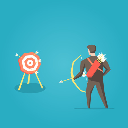 archer cartoon: Businessman archer with bow, arrows and target vector illustration. Business cartoon character creative concept. Illustration