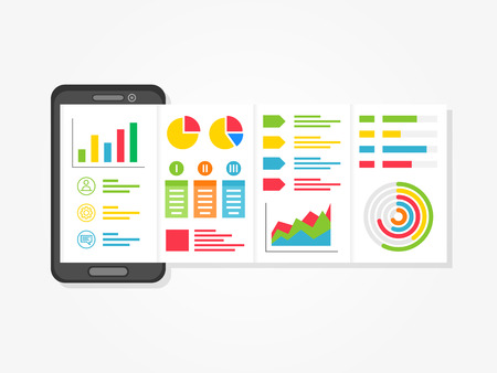Mobile presentation vector illustration. Presentation app with charts, diagrams creative concept. Business presentation layout graphic design.