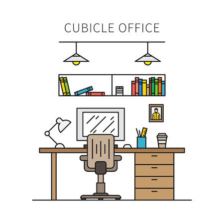 office cubicle: Cubicle office with furniture and equipment lamp, desktop, table, chair vector illustration. Individual working place creative concept. Minimal office space graphic design.