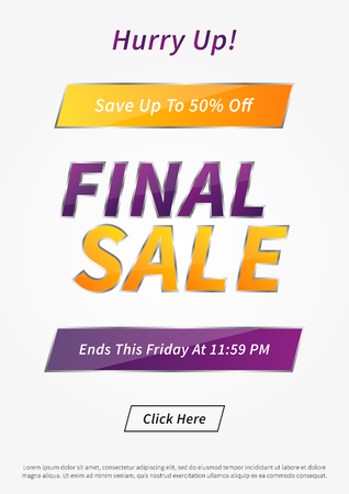 Banner Final Sale vector illustration. Poster Final Sale creative concept for websites, retail stores, advertising. Banner layout Final Sale A4 size, ready to print.