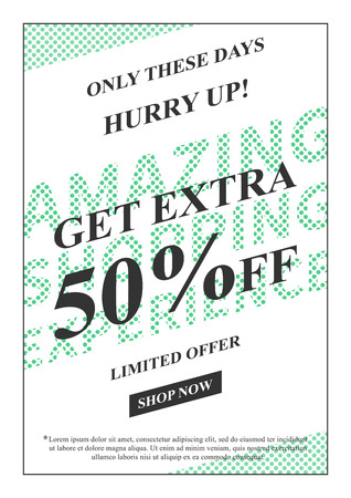 Vector promotional Get Extra 50 percent off banner for online stores, websites, retail posters, social media ads. Creative banner layout for m-commerce, coupons, advertising. Çizim