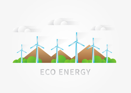 wind power: Air turbine landscape vector illustration. Wind turbine, windmill supply creative concept. Eco energy graphic design with renewable power electricity sources wind turbine, air generator.