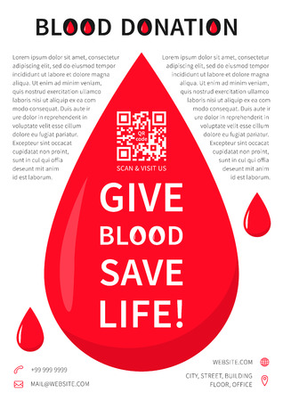 transfuse: Blood Donation poster vector template. Blood Donation banner layout with sample text, big red drop, contact information and qr code on grey background. Phrase Give Blood Save Life graphic design.