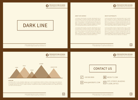 Presentation vector layout for corporate documents, annual report, business proposal, book cover. Modern appearance presentation design with infographic elements. Horizontal presentation slides with bars, charts, diagrams, graphs. A4 page, easy to edit.