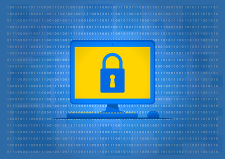 protect: Computer data protection vector illustration. Computer with lock sign on the blue background. Data security technology graphic design. Firewall software to protect your privacy creative concept.