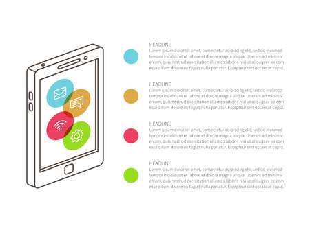 statements: Phone wireframe with list of statements vector illustration. Illustration