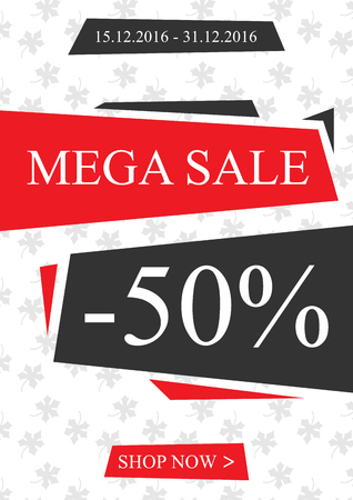 Vector promotional Mega Sale banner for online stores, websites, retail posters, social media ads. Creative banner layout for m-commerce, mobile applications, e-mail promotions.