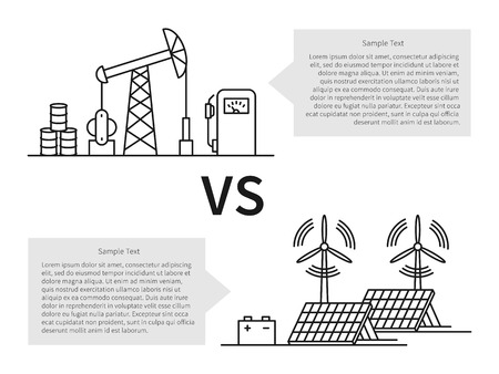 wind power: Oil production versus electric energy linear vector illustration with fuel hose pipe, petrolium, fuel, gasoline, battery, solar battery, wind turbine. Fuel energy versus eco power energy concept.