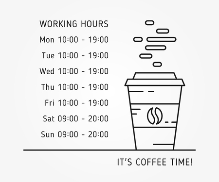 working hours: Coffee time working hours linear vector illustration on grey background. Coffee store hours of operation creative graphic concept. Graphic design template for restaurant, cafe, banner. Illustration