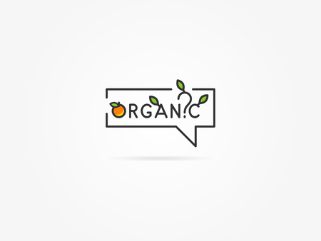 restaurant questions: Organic question linear vector illustration on light grey background. Organic with trees and house plants leaf, leaves, tree, orange, fruit, green creative graphic concept.