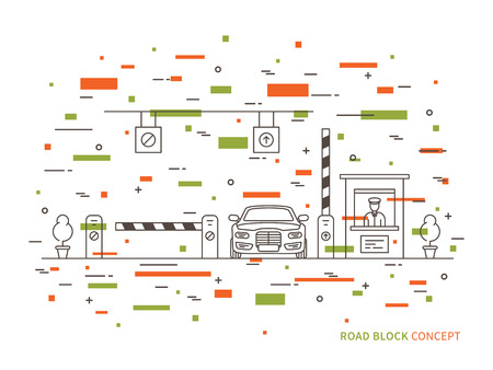 Road checkpoint station pay-gate, tourniquet linear vector illustration. Road barrier stop gate creative graphic concept. Road traffic security entrance graphic design. Vector Illustration