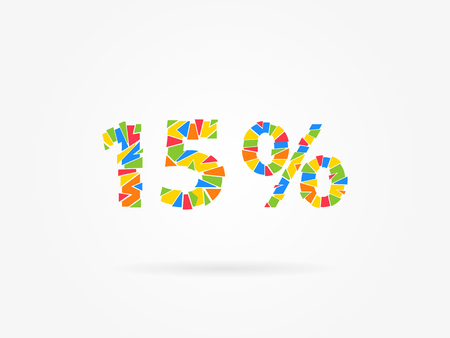 15 percent discount colorful vector illustration on grey background. 15 fifteen percent off discount creative promotion concept. Special offer isolated element for banner, marketing.