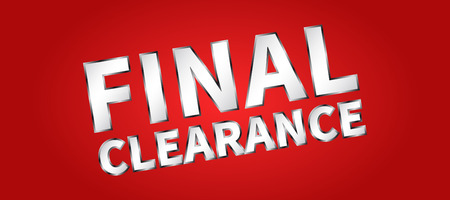 clearence: Banner Final Clearance horizontal vector illustration on red background. Final Clearance creative concept for websites, retail stores, advertising.