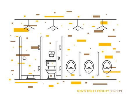 urination: Washroom with urinals and closet basin for men vector illustration. Public toilet line art concept. Male restroom outline graphic design.