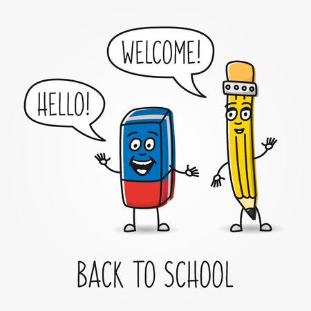 Crayon et vecteur de bande dessinée de gomme caractères. Illustration créative avec joli crayon et une gomme avec des nuages ??de parole bonjour, bienvenue, de retour à l'école.