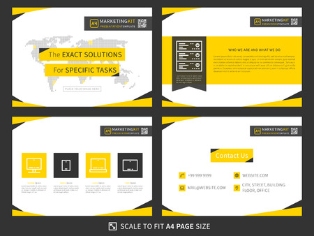 Corporate presentation vector template. Modern business presentation graphic design. Minimalistic layout with infographic, front page, content page, products and contact info. Easy to use, edit and print. Ilustração