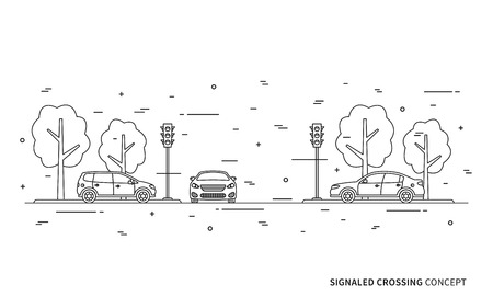 traffic controller: Traffic lights at the crossroad vector illustration. Light signals with cars line art concept. Traffic controller graphic design.