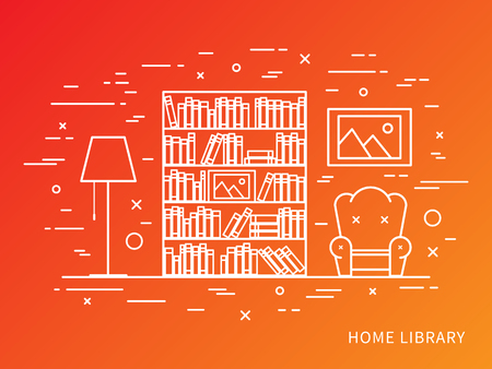 lamp outline: Linear flat interior design illustration of modern designer home library interior space with bookcase, shelves, armchair, lamp. Outline vector graphic concept of home library interior design