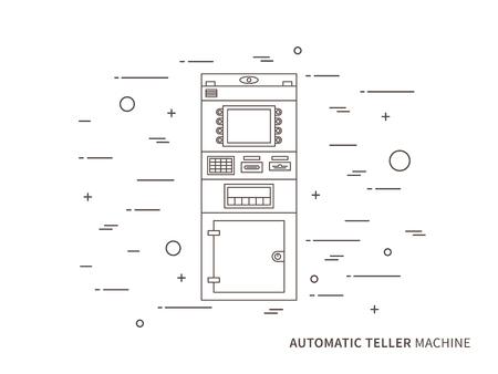 bankomat: Vector automatic teller machine ATM, cash dispenser, automatic cash terminal concept graphic design illustration. Illustration