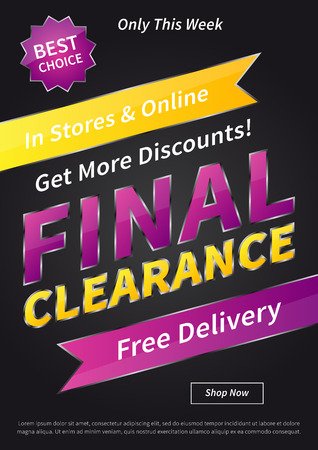 clearence: Banner Final Clearance vertical vector illustration on black background. Final Clearance creative concept with sample text for online shop, retail store, advertising, poster, banner.