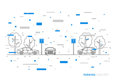 urban area: Parking vector illustration with colorful decorative elements. Parking lot creative concept. Parking zone with cars, trees and parking road signs graphic design.