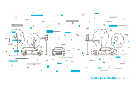 traffic controller: Traffic lights at the crossroad vector illustration with colorful decorative elements. Light signals with cars line art concept. Traffic controller graphic design.