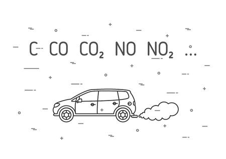 fumes: Car exhaust fumes vector illustration. CO2, NO2 emissions line art concept. Carbon dioxide emits, smoke pollution graphic design. Illustration