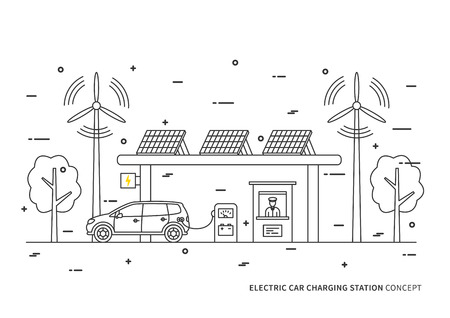 recharging: Electric car charging station vector illustration. Electric hybrid automobile charging at the eco power station with solar panels and wind turbines concept. Rechargeable energy design.