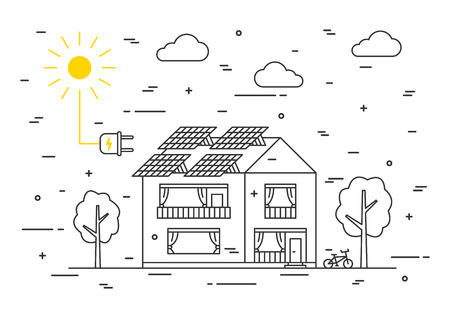solar home: Sun electricity house vector concept. Solar home system creative concept. Solar panel eco electricity illustration. Sunlight generator graphic design.