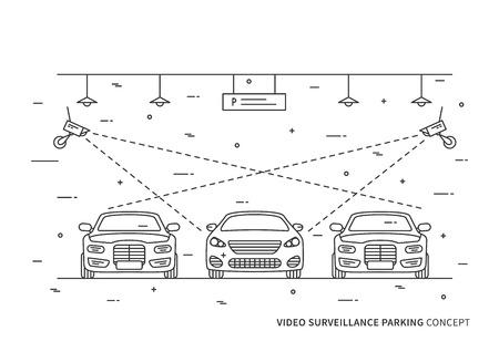 Videobewaking parking vector concept. Bewakingscamera in overdekte parkeerplaats auto creatief concept.