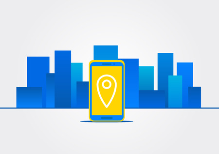 geolocation: Map location on device vector illustration. Navigation sign on mobile phone screen concept. GPS technology in city landscape graphic design. Map pointer navigation of destination and position. Illustration