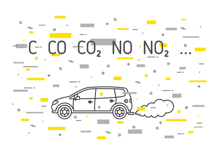 Car exhaust fumes vector illustration with decorative colorful elements. CO2, NO2 emissions line art concept. Carbon dioxide emits, smoke pollution graphic design.