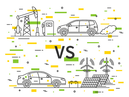 vs: Fuel gas car VS electric car vector concept with decorative colorful elements. Illustration