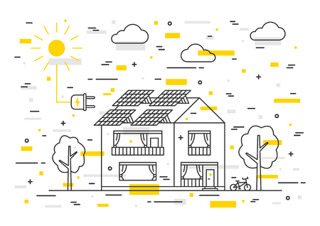 solar home: Sun electricity house vector concept with decorative colorful elements. Solar home system creative concept. Solar panel eco electricity illustration. Sunlight generator graphic design. Illustration